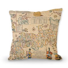 Old world map pillow cover