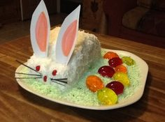 Yum... I'd Pinch That!   Mom's Bunny Cake w/Jello Eggs