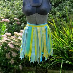 Aqua Ribbon Tutu Yellow Skirt by PlaynwithScraps on Etsy, $16.00