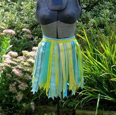 Aqua Ribbon Tutu Yellow Skirt by PlaynwithScraps on Etsy, $16.00