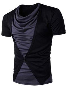 #Fashionmia - #Fashionmia Cowl Neck Color Block Men T-Shirt - AdoreWe.com