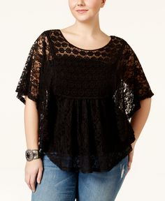 4e3bfde9e7f47 American Rag Plus Size Open-Back Lace Poncho Top