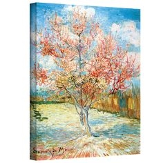 Vincent van Gogh 'Pink Peach Tree' Wrapped Canvas Art | Overstock™ Shopping - Top Rated ArtWall Canvas
