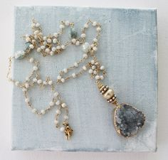 Zircon Corundum and Druzy Pendant Necklace - The Ainsley Necklace