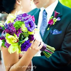 his and hers matching Plum, eggplant, fuschia, PURPLE wedding flowers! Purple Wedding Bouquets, Bridal Flowers, Purple Flowers, Floral Wedding, Wedding Colors, Flower Colors, Flower Ideas, Peacock Wedding, Magenta Wedding