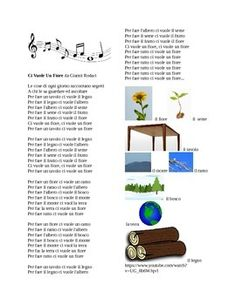"""These are the lyrics to the traditional Italian childrens' song """"Ci Vuole un Fiore """" by Gianni Rodari.  Word document has the full lyrics as well as pictures of key vocabulary from the song to help comprehension.  This song is great to review or introduce Physical Environment (Spring time vocabulary),Global Awareness and/or Environmental Issues depending upon the level of Italian class."""