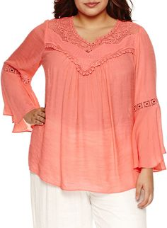 a6f6aaa898b Alyx 3 4 Bell Sleeve Peasant Top-Plus Trendy Plus Size