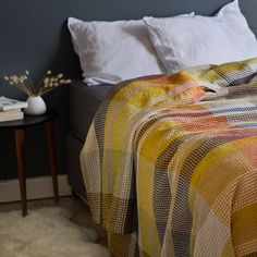 The Mungo Vrou Blanket in Tamarind. A pure cotton blanket with a luxurious drape designed, made and woven at the Mungo Mill in South Africa. Trendy Bedroom, Cozy Bedroom, Bedroom Scene, Bedroom Furniture Makeover, Sustainable Textiles, Wood Beds, Cotton Blankets, Carpet Colors, Bedroom Colors