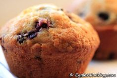 It's unbelievable that these light and airy vegan blueberry muffins are made with vinegar and not eggs.