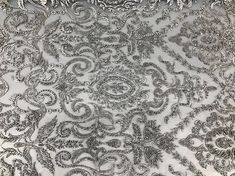 Silver Embroidered & Heavily Beaded Lace Fabric Available By