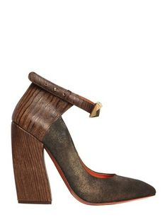 MISSONI - 120MM SHINY SUEDE & CALFSKIN PUMPS