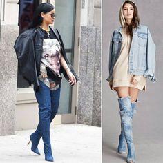 Okey, o modelo denim boots não agrada todas fashionistas, mas já caiu nas graças de algumas celebridades, Rihanna é uma delas. Para as mais ousadas e autênticas as botas jeans, no estilo over the knee, são uma tendência e a regra é não ter regras.   #modaazoficial #botajeans #cool #style #trends #denimboots #itgirls #loveshoes #overtheknee