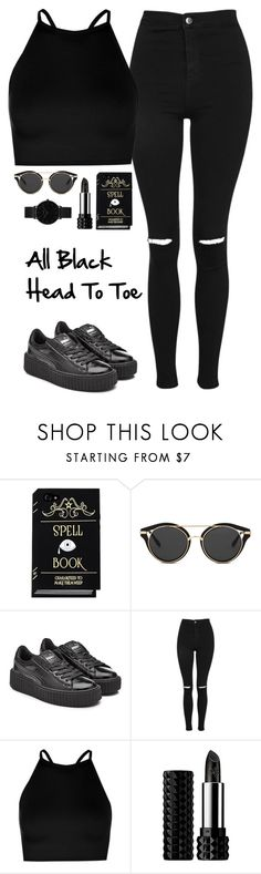 """All Black"" by quonton ❤ liked on Polyvore featuring Puma, Topshop, Boohoo, Kat Von D and CLUSE"