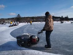 cleaning the rinks on a sunny day @Pond Hockey Classic