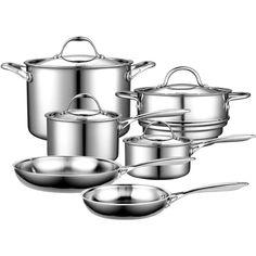 10 Piece Stainless Steel Cookware Set - Lifetime Warranty