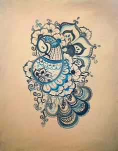 Buddhist Henna-inspired Peacock Painting | Alex Behn - this would make a great tattoo