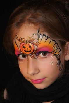 24 Best Ideas To Paint Kids Faces On Halloween Day Halloween-Pumpkin-Face-paint-girl Face Painting Halloween Kids, Girl Face Painting, Face Painting Designs, Painting For Kids, Body Painting, Face Paintings, Yeux Halloween, Halloween Pumpkins, Halloween Makeup