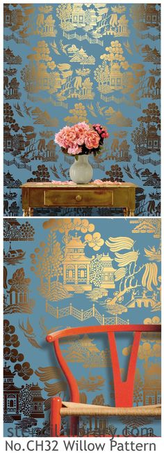 Stencil no CH32 from The Stencil Library in gold paint. To achieve a flat coverage of paint use a foam roller to stencil with; to add variety in the density of colour use a stencil brush. The stencil is in the Chinese Style range to order from stencil-library.com #stencil #stencilledwalls #Chinoiserie #willowpattern