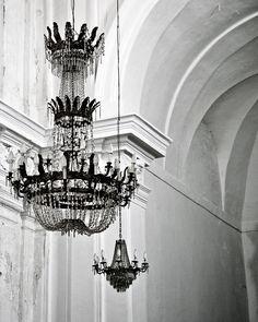 Chandelier Photograph - Black and White Photography - Glamorous Elegant Print - Sicily Italy - Romantic - Italian Home Decor - Wall Art. $30.00, via Etsy.