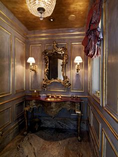 """gold ceiling...gold leaf...gold mirror...gold sconce...gold sink...Blue with gold"""""""