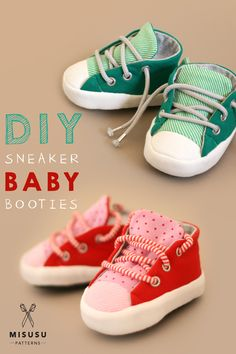Sneaker Baby Booties PDF Sewing Pattern. The perfect DIY Baby shower gift!