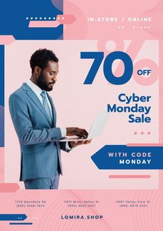 Cyber Monday Sale with Man Typing on Laptop — Create a Design Laptops For Sale, Edit Online, Online Posters, Sale Flyer, Cyber Monday Sales, Sale Poster, Ecommerce, Online Shopping, Template