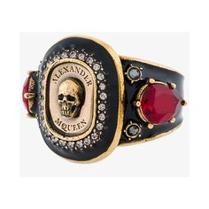 Alexander McQueen Jewelled Medallion ring (21.250 RUB) ❤ liked on Polyvore featuring jewelry, rings, engraved jewellery, alexander mcqueen jewelry, jewel rings, skull rings and engraved jewelry