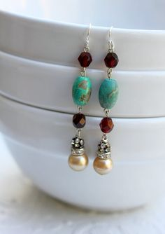 Vintage Glass Pearl Garnet and Turquoise Earrings