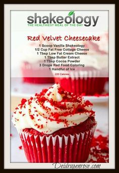 Who loves Red Velvet or Cheesecake? Now you can enjoy a clean healthy red velvet cheesecake dessert! Shakeology Shakes, Beachbody Shakeology, Vanilla Shakeology, Herbalife Shake Recipes, Protein Shake Recipes, Smoothie Recipes, Protein Shakes, Healthy Recipes, Diet Shakes