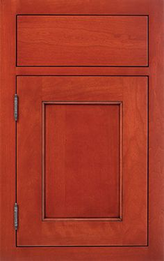 Lewisburg Recessed door style by #WoodMode, shown in Cinnabar finish on cherry.
