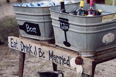 Kerrie & Marshall's rustic wedding reception at Hutcheson Plantation. Photo by La Bella Vita Photography.