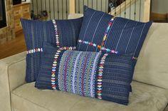ClothRoads Exclusive Pillow Designs using repurposed Guatemalan Corte, a beautiful use of handwoven jaspé.