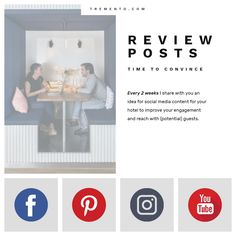 Social media for hotels - Review Posts - Ideas to improve your engagement and reach more (potential) guests    | Social Media Hotel | Social Media Post | Review Posts | Hotel Review | Hostel Review | Social Media Review | Guest Review | Hotel Communication