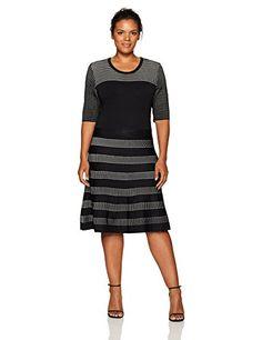 3e499e2eeae Calvin Klein Women s Plus Size Pointelle Fit and Flare Dress at Amazon  Women s Clothing store