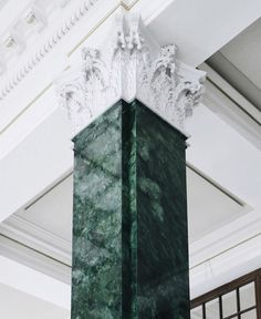 Lutyens pillar in emerald green marble at the Ned Hotel London