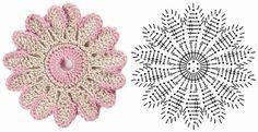 Pretty Flowers,  Crochet designs, diagrams, how to's and ideascrochet flower diagram | Crochet flowers diagram 5