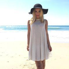 Flare Away Stripe Jersey Tank Dress