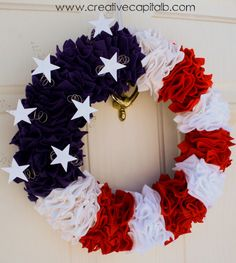Capital B: Ruffly Patriotic Wreath Tutorial! Perfect for all patriotic holidays.July Fourth, Memorial Day,Flag Day, or Veteran's Day Patriotic Wreath, Patriotic Crafts, Patriotic Decorations, 4th Of July Wreath, Military Decorations, Felt Wreath, Wreath Crafts, Diy Wreath, Wreath Making