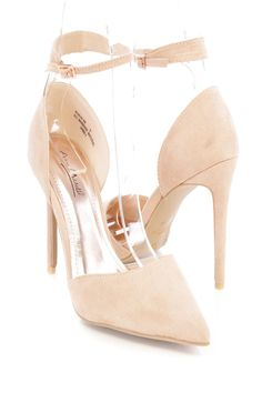 5511b8d01e6 Nude Pointy Closed Toe Single Sole High Heels Faux Suede