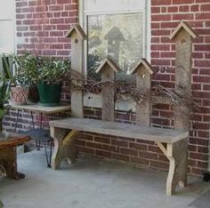 Birdhouses on picket making primitive Garden bench. This looks easy to do....always looks easy but getting there is a different story!