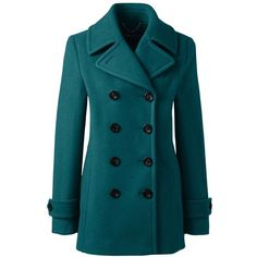 Lands' End Women's Petite Wool Peacoat ($179) ❤ liked on Polyvore featuring outerwear, coats, blue, lands' end, petite coats, lands end coats, blue wool coat and petite wool coats