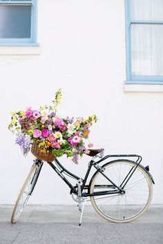 Flower styling | Bicycle wth basket of flowers | Floral lifestyle image