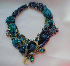 Jewelry necklace shibori soutache by LenaLyngdal on Etsy