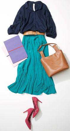 爽快なグリーンスカートを通勤仕様に! 人気スタイリストMeguさんが休日っぽい軽やかさ・華やかさがありつつも、オンタイムにも使える、スカートスタイルをルミネ新宿 ルミネ1のアイテムから提案します!