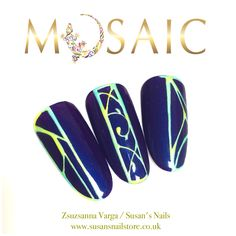 www.susansnailstore.co.uk Mosaic gel paints are very high in pigmentation! Most of the colours covers perfectly in just 1 coat. Curing time is 1 minute in 36 watt uv lamp.  Available sizes: 5ml Price: £10.50 inc VAT www.susansnailstore.co.uk French Manicures, Nail Technician, Nail Artist, Nail Ideas, Mosaic, Colours, Coat, Painting, Finger Nails