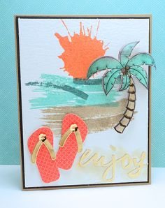Seaside Dream by - Cards and Paper Crafts at Splitcoaststampers Beach Cards, Curtain Call, Copics, Beautiful Islands, Beach Themes, Seaside, Cardmaking, Flip Flops, Abstract Art