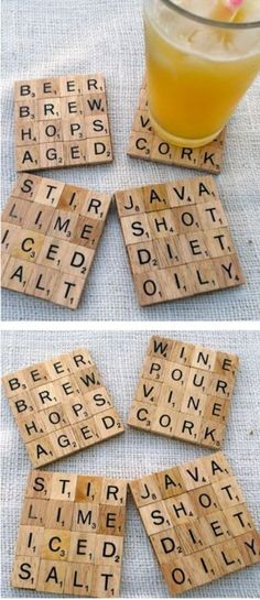 Scrabble coasters-would be so cute to personalize with family memories/stories