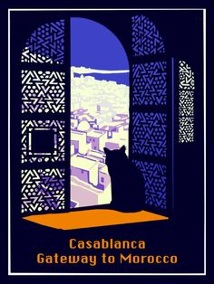 Vintage Travel Art Print Morocco Casablanca Cat Travel Poster - Print 8 x 10 - Retro Poster, Vintage Travel Posters, Retro Print, City Poster, Poster S, Poster Prints, Art Prints, Morocco Tourism, Morocco Travel