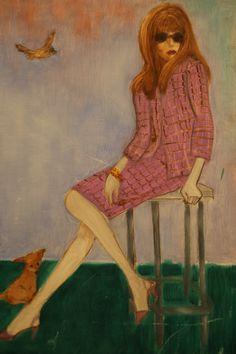 Françoise Dorléac, pájaro y perro., cuadro de Pacco, óleo sobre tela