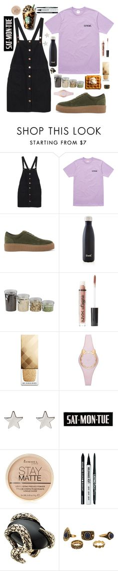 """""""The Mission"""" by anishagarner ❤ liked on Polyvore featuring Monki, Steve Madden, S'well, Home Basics, Charlotte Russe, Burberry, Kate Spade, Jennifer Meyer Jewelry, Rimmel and Bare Escentuals"""